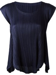 Pleats Please By Issey Miyake Pleated Blouse Blue