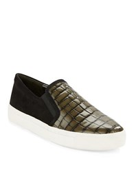 Via Spiga Maliah Embossed Leather And Suede Sneakers Olive