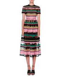 Valentino Striped Lace Short Sleeve Cocktail Dress Multi Black Multi Colors