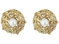 Oscar De La Renta Urchin Pearl Button P Earrings Light Gold