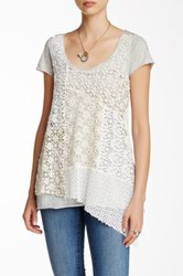 Johnny Was Crochet Front Asymmetrical Tee Gray