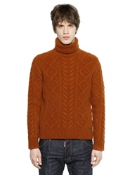 Dsquared Wool Blend Cable Knit Turtleneck Sweater Brown