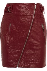 Isabel Marant Breezy Faux Washed Leather Mini Skirt Claret