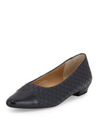 Neiman Marcus Ginger Quilted Cap Toe Flat Navy Navy