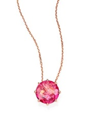 Suzanne Kalan Pink Topaz And 14K Rose Gold Round Pendant Necklace Rose Gold Pink