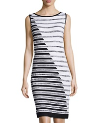 Joan Vass Striped Sleeveless Dress Black Combo Brilliant White