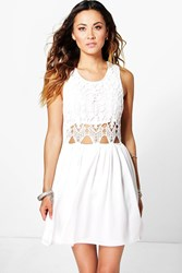 Boohoo Lea Crochet Chiffon Mini Dress Ivory