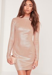 Missguided High Neck Shimmer Rib Bodycon Dress Nude Beige