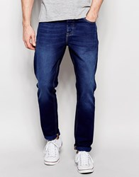 Asos Slim Jeans In Dark Wash Blue