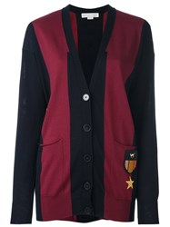 Stella Mccartney Patch Detail Rugby Cardigan Blue