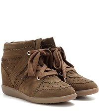 Isabel Marant Etoile Bobby Suede Wedge Sneakers Brown