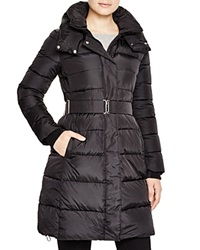 Add Down Hooded Belted Down Coat Black