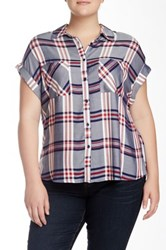 Como Vintage Short Sleeve Plaid Shirt Plus Size Blue