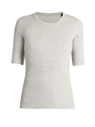 Atm Anthony Thomas Melillo Engineered Ribbed Knit Top Light Grey