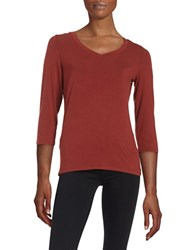 Lord And Taylor V Neck Tee Rust
