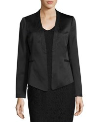 Laundry By Shelli Segal Print Trim Crepe Satin Blazer Black