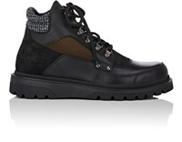 Moncler Men's Chaberton Leather And Suede Hiking Boots Black