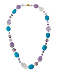 Devon Leigh Long Amethyst And Turquoise Beaded Necklace Women's