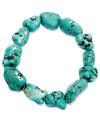 Macy's Manufactured Turquoise Stretch Bracelet In Sterling Silver 125 Ct. T.W.