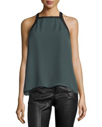 10 Crosby Derek Lam Crisscross Back Tank W Faux Leather Trim Bottle Green