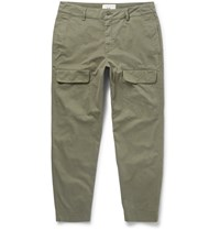 Folk Slim Fit Tapered Cotton Cargo Trousers Green