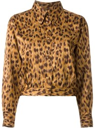 Moschino Vintage Cheetah Print Cropped Jacket Brown