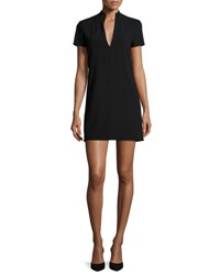 Alice Olivia Barry Short Sleeve V Neck Mini Dress Black