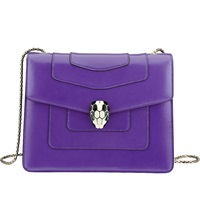 Bulgari Serpenti Forever Leather Shoulder Bag Violet Dark