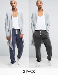 Asos Loungewear Slim Jogger With Narrow Waistband And Cuffs 2 Pack Washed Navy Washed Multi