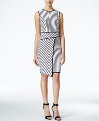 Xoxo Juniors' Striped Asymmetrical Hem Bodycon Dress White Black