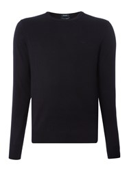 Armani Jeans Crew Neck Wool Cotton Mix Jumper Navy