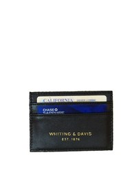 Whiting And Davis Brass Metal Mesh Faux Leather Credit Card Holder Black