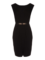 Mela Loves London Belted Plain Dress Black