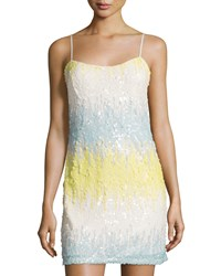 Soloiste Sequined Strapless Sheath Dress Aqua Ivory Lime