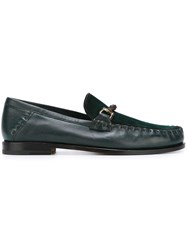 Santoni Contrast Panel Loafers Green