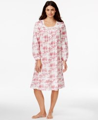 Eileen West Printed Long Sleeve Nightgown Red Floral