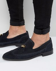 Asos Loafers In Navy Suede Blue