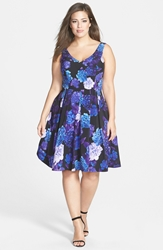 City Chic Hydrangea Print Dress Plus Size