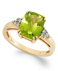 Macy's 14K Gold Ring Peridot 3 1 4 Ct. T.W. And Diamond Accent Rectangle Ring Green
