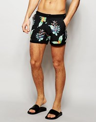 Asos Short Length Swim Shorts With Tropical Floral Print And Fixed Waistband Black