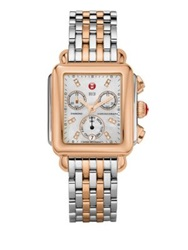 Michele Deco Diamond Mother Of Pearl 18K Rose Goldplated And Stainless Steel Bracelet Watch Silver Rose Goldtone