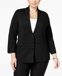 Alfani Plus Size Shawl Collar Knit Jacket Only At Macy's Deep Black