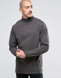 Only And Sons Jersey Roll Neck Long Sleeve Top Raven Grey