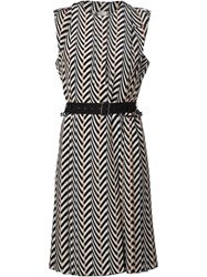Lanvin Chevron Pattern Dress Nude And Neutrals