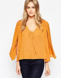 Asos 70S Sleeveless Drape V Neck Blouse Mustard