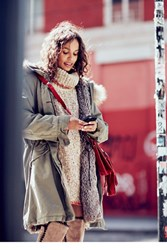 Free People Womens Fur Lined Military Parka