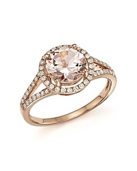 Bloomingdale's Morganite And Diamond Halo Ring In 14K Rose Gold Pink White