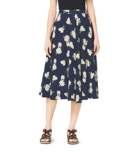 Michael Kors Camellia Print Silk Georgette Circle Skirt Indigo White