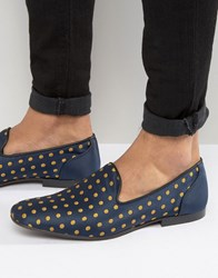 Asos Loafers In Navy With Polka Dot Embroidery Navy Gold