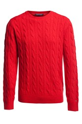 Tommy Hilfiger New Cable Knit Jumper Red